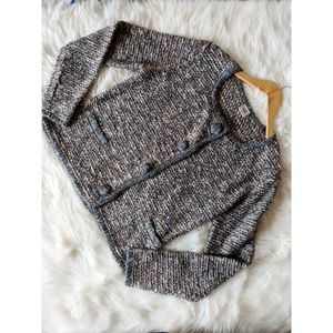 Cabi Ritz Sweater Peppered Brown Double Row Snap